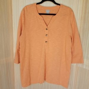 Chico's ¾ sleeve pullover shirt.  XL